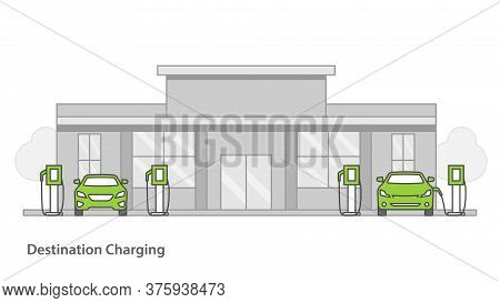 Electric Car Charged Frome The Charging Station In Parking Lot Of Shopping Center.vector Illustratio