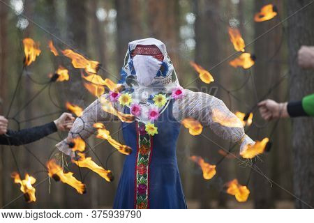 Burning Straw Stuffed Carnival, A Symbol Of Winter And Death In Slavic Mythology, Pagan Tradition. R