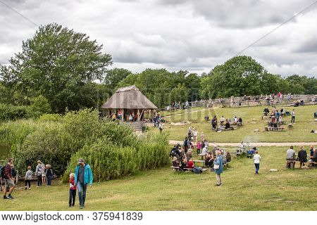 People Take Part In Attractions In The Land Of Legends, Lejre, Denmark, July 9, 2020