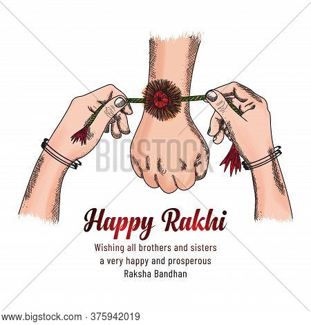 Happy Raksha Bandhan. Colorful Sketching Hands Of Brother And Sister, Sister Is To Tie The Knot Of R