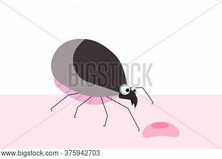 Bug, Tick. Blood-sucking Parasite. Insect Pest. Tick Character, Vector Illustration.