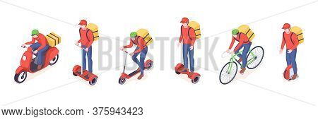 Delivery Service Eco Transport Vector Isometric Icons Of Food Delivery Courier Man. Delivery Service