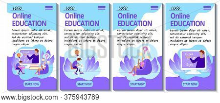 Set Of 4 Mobile App Page Templates. Mobile Version Of The E-learning Site. Home Education Concept. T
