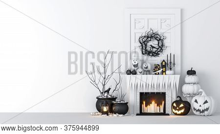 Living Room Interior Decorated With Lanterns And Halloween Pumpkins, Jack-o-lantern, For Halloween P