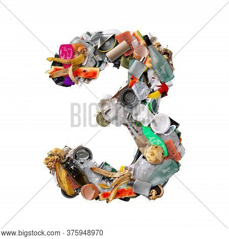 Number 3 Made Of Trash Isolated On White Background