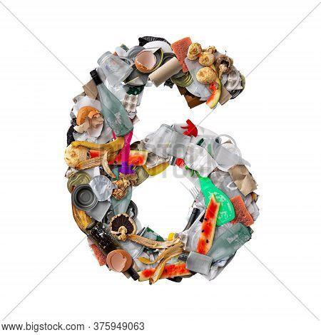 Number 6 Made Of Trash Isolated On White Background