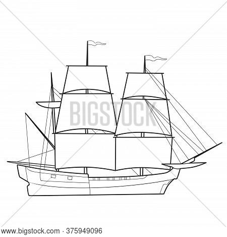 Sketch Of A Sailboat, Ship, Coloring Book, Isolated Object On A White Background, Vector Illustratio
