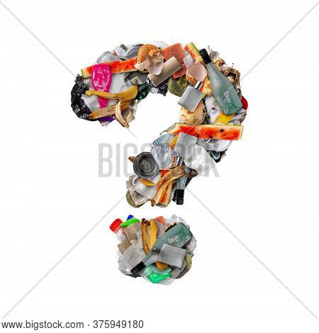 Question Mark Made Of Trash Isolated On White Background