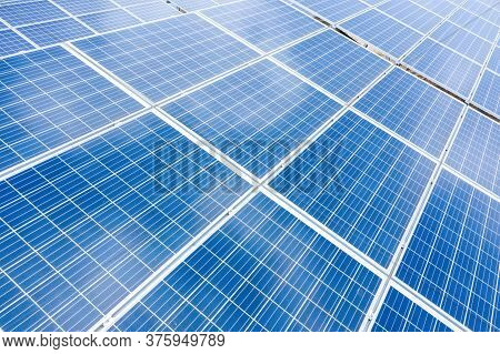 Close Up Top View Of Solar Energy Panels. Clean And Renewable Energy Concept For A Sustainable Ecosy