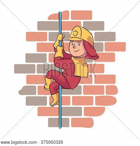 Brave Boy Fireman Wearing Protective Uniform And Helmet Sliding Down Metal Pole Over Brick Wall Back