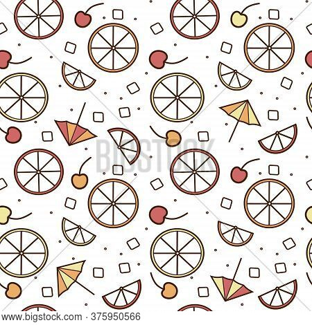 Fresh Summer Orange Lemon Cherry Fruit Ice Cocktail Garnish Seamless Pattern Vector Illustration Bac