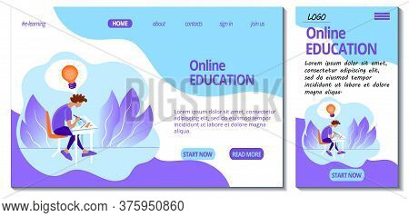 Web Page And App Mobile Design Template For E-learning Site. Home Online Education. Student Studying
