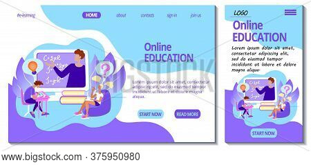 Web Page And App Mobile Design Template For E-learning Site. Home Online Education Concept. Students