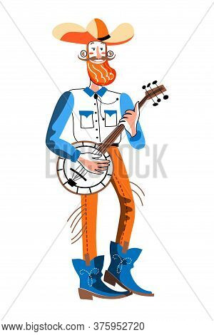 Man Musician With Banjo. Vintage Folk Guitar Player. Guy With Ethnic Musical Instrument Full Length