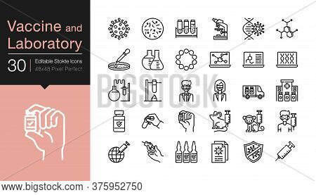 Vaccine And Laboratory Icons. Modern Line Design. For Presentation, Mobile Application, Web Design,