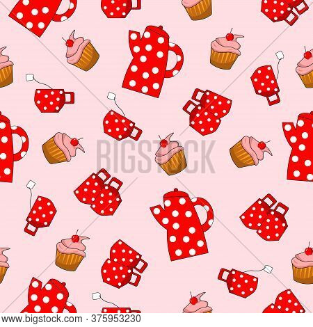 Red Teapot And Cups With A Berry Muffin. Vector Illustration On A Pink Background. For Packaging, Fa
