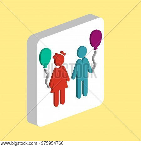 Children And Balloons Simple Vector Icon. Illustration Symbol Design Template For Web Mobile Ui Elem