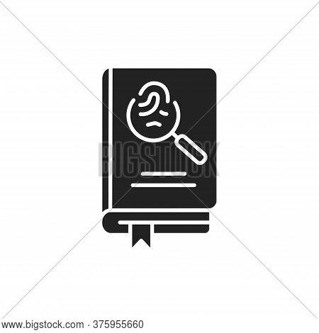 Detective Book Black Glyph Icon. A Sub-genre Of Crime And Mystery Fiction. An Investigator Investiga