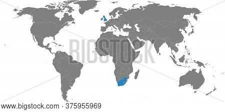 United Kingdom, South Africa Countries Isolated On World Map. Gray Background. Business Concepts, Sp