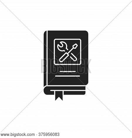 Technics Repair Book Black Glyph Icon. Course About Technical And Repair Knowledge. Pictogram For We
