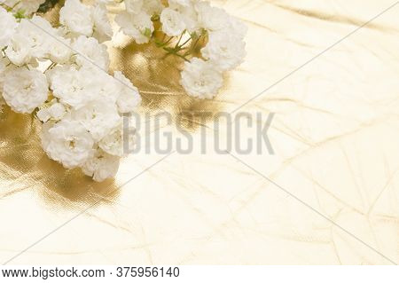 Sprigs Of White Roses On Gold Background, Copy Space. Minimal Style Flat Lay. For Greeting Card, Inv