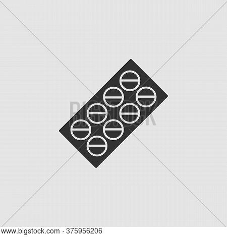 Pills Blister Pack Icon Flat. Black Pictogram On Grey Background. Vector Illustration Symbol