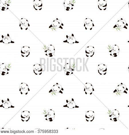Cute Pamda.too Cute Animal. Super Cute Cartoon Panda. Seamless Pattern With Chines Panda. Vector Fla