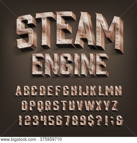 Steam Engine Alphabet Font. 3d Retro Brass Letters And Numbers. Stock Vector Typescript For Your Des