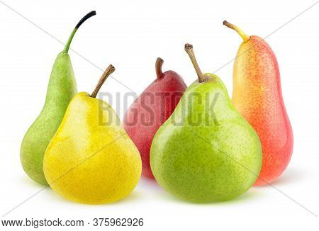Isolated Pears Of Different Colors And Shapes. Yellow, Green And Red Pear Fruits Isolated On White B