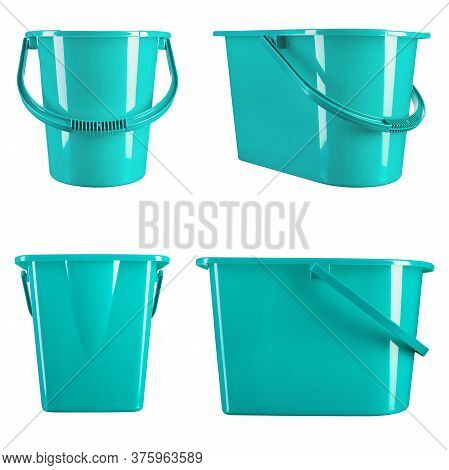 Turquoise Plastic Bucket On A White Background. Housewares.