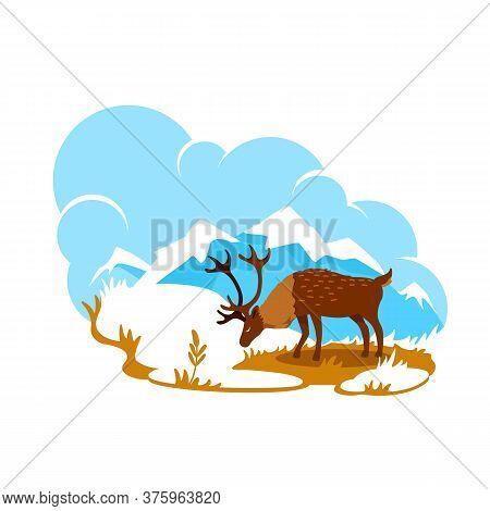 Alaska 2d Vector Web Banner, Poster. Reindeer In Wilderness. Natural Habitat. Deer On Mountain Peak