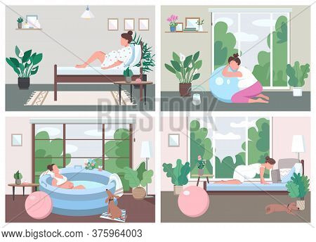Place For Childbirth At Home Flat Color Vector Illustration Set. Training For Alternative Birth. Pre