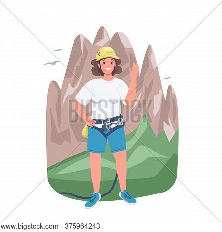 Woman Mountaineer Flat Color Vector Detailed Character. Climbing And Trekking. Strong Lady. Cheerful