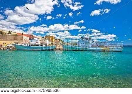 Zadar Harbor. Old Rusty Boats In Zadar Fosa Harbor View. Dalmatia Region Of Croatia