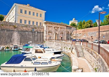 Zadar. Fosa Town Gate And City Walls Of Zadar View. Dalmatia Region Of Croatia