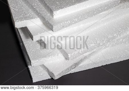Styrofoam. Sheets Of Factory Manufacturing Close Up