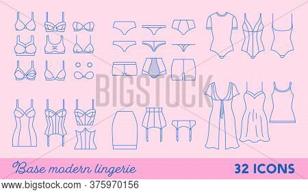 Set Of Lingerie Outline Icons. Modern Women Underwear - Linear Collection. Panties, Bras, Corsets An