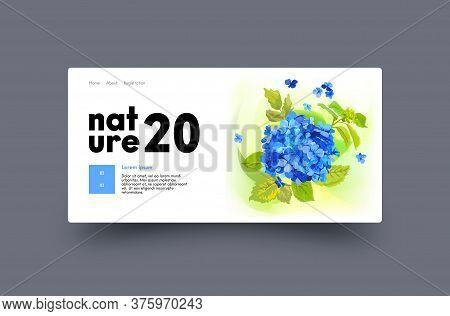Landing Page Design With Blue Hydrangea Flowers. Website Template For Florist Shop, Wedding Decorati