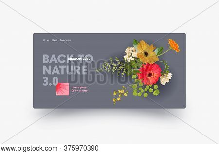 Landing Page Design With Autumn Gerbera Flowers, Website Template For Florist Shop, Wedding Decorati