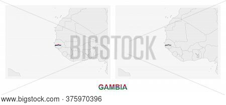 Two Versions Of The Map Of Gambia, With The Flag Of Gambia And Highlighted In Dark Grey. Vector Map.