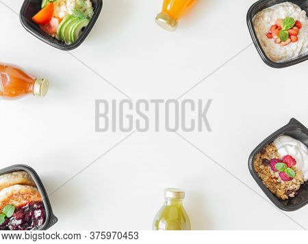 Healthy Breakfast Delivery. Fitness Food. Eat Right Concept, Healthy Food, Clean Food Take Away In B