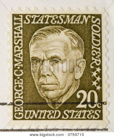 Vintage Us Stamp 1967 George C Marshall