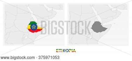 Two Versions Of The Map Of Ethiopia, With The Flag Of Ethiopia And Highlighted In Dark Grey. Vector