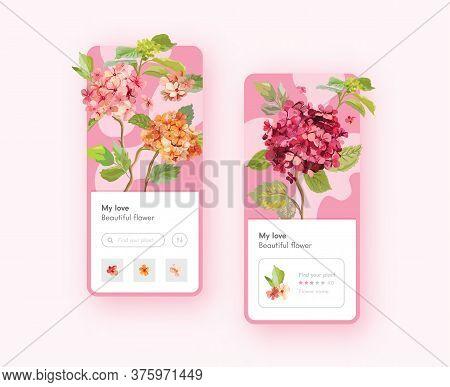 Hydrangea Flowers Mobile App Page Onboard Screen Template. Florist Shop, Wedding Decoration. Nature,