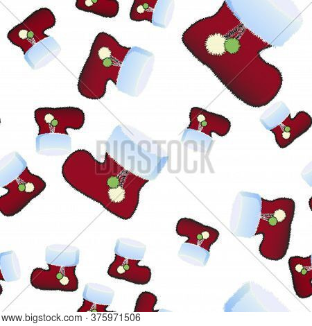 Fluffy Christmas Boot For Gifts Seamless Pattern. Vector Illustration.
