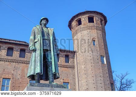 War Memorial Statue Of Soldier At Piazza Castello In Turin