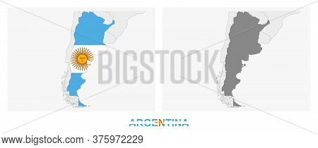 Two Versions Of The Map Of Argentina, With The Flag Of Argentina And Highlighted In Dark Grey. Vecto