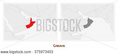 Two Versions Of The Map Of Oman, With The Flag Of Oman And Highlighted In Dark Grey. Vector Map.