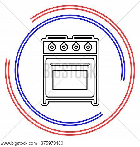 Stove Oven Icon, Vector Gas Stove, Kitchen Cooking Appliance. Thin Line Pictogram - Outline Editable