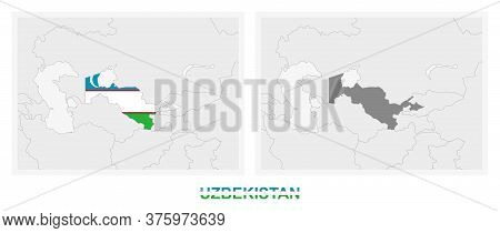 Two Versions Of The Map Of Uzbekistan, With The Flag Of Uzbekistan And Highlighted In Dark Grey. Vec